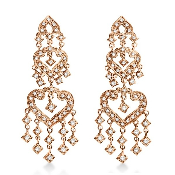 Diamond Chandelier Earrings in 14k Rose Gold (1.01ct)