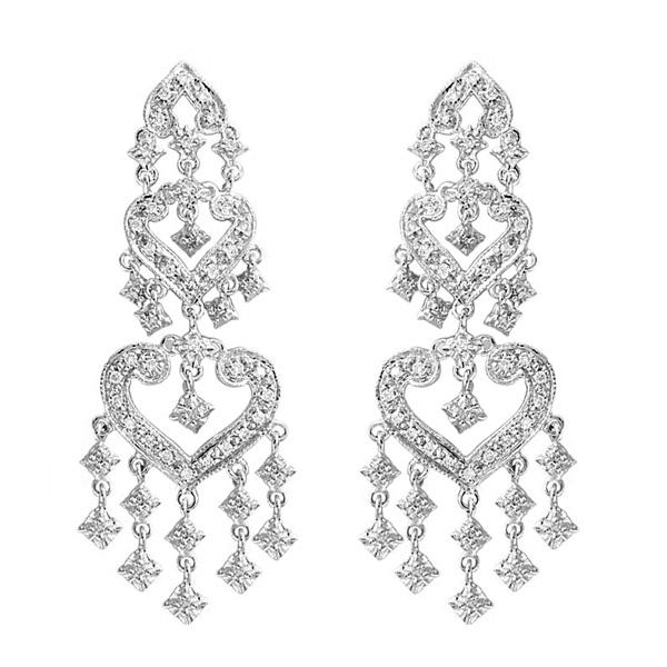 Diamond Chandelier Earrings in 14k White Gold (1.01ctw)