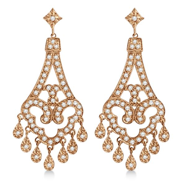Dangling Chandelier Diamond Earrings 14K Rose Gold (1.08ct)