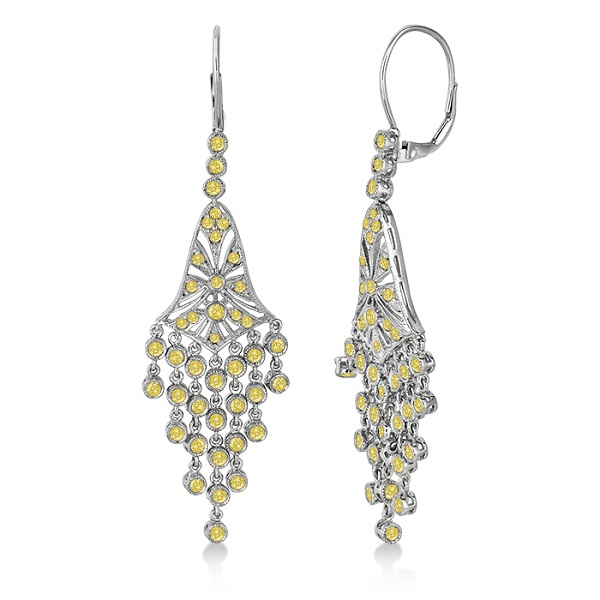 Fancy Yellow Canary Diamond Chandelier Earrings 14k White Gold (2.27ct)
