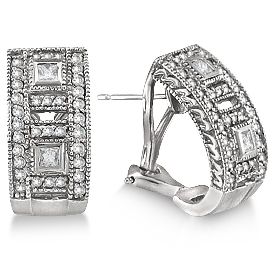 Princess & Round Diamond Huggie Earrings 18K White Gold (1.00ct)
