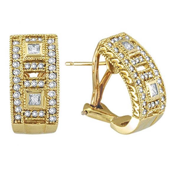 Princess & Round Diamond Huggie Earrings 18K Yellow Gold (1.00ct)