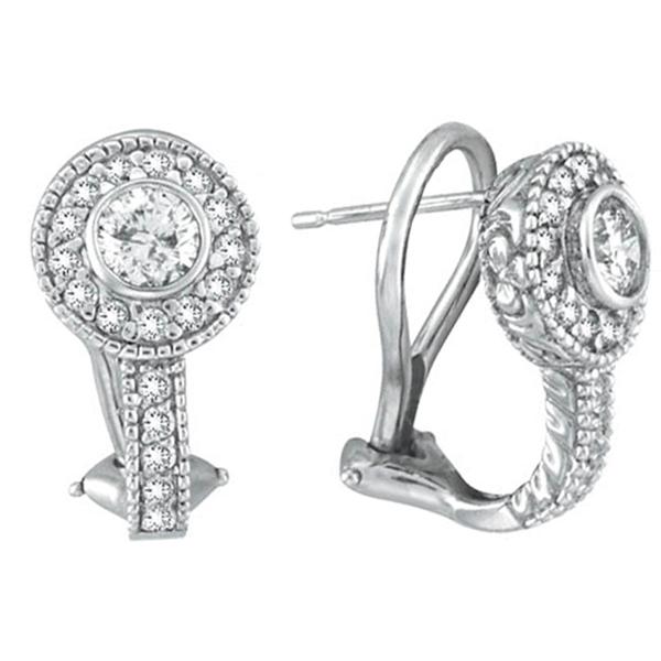 Round Diamond Huggies Earrings in 14K White Gold (1.31 ctw)