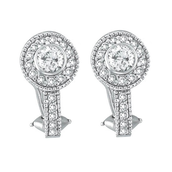 Round Diamond Huggies Earrings in 14K White Gold (1.31 ctw)
