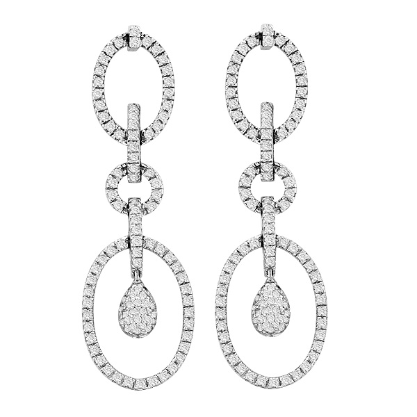 Bridal Diamond Drop Earrings in 14k White Gold (1.75 ctw)
