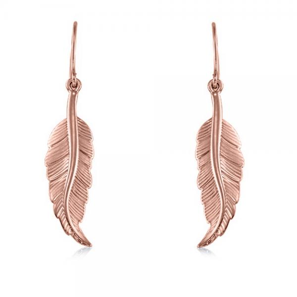 Dangling Feather Earrings in Plain Metal 14k Rose Gold