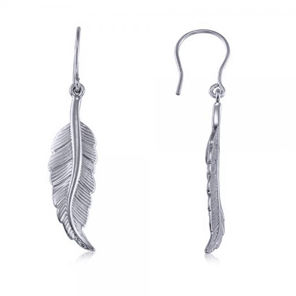Dangling Feather Earrings in Plain Metal 14k White Gold