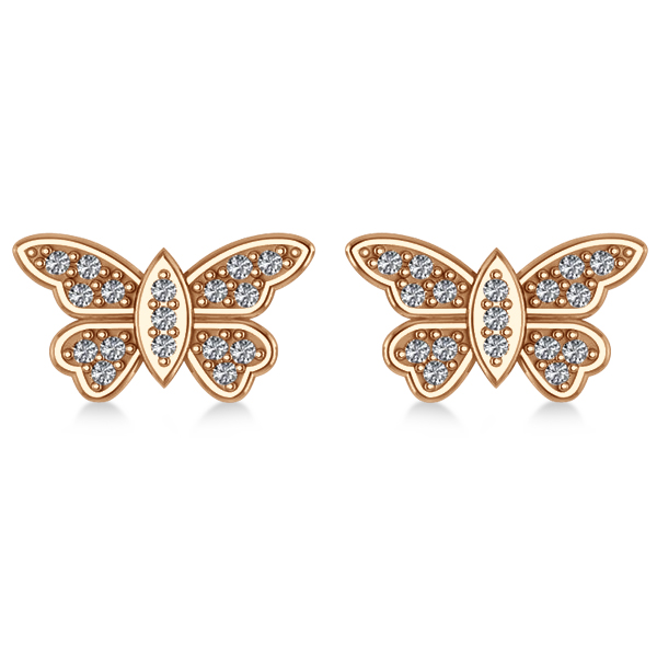 Diamond Butterfly Earrings 14k Rose Gold (0.16ct)