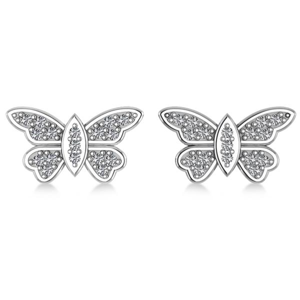 Diamond Butterfly Earrings 14k White Gold (0.16ct)