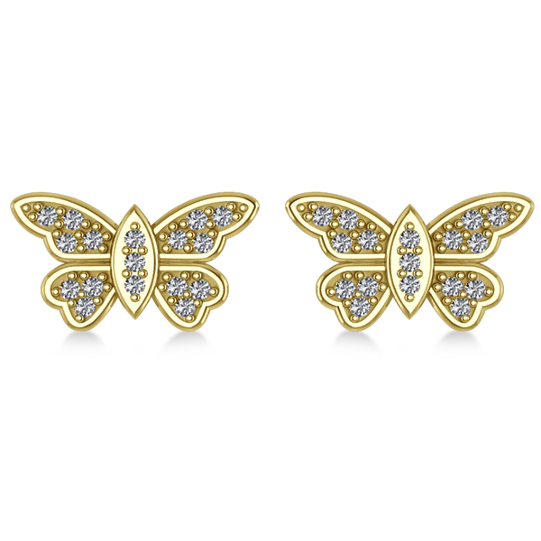 Diamond Butterfly Earrings 14k Yellow Gold (0.16ct)