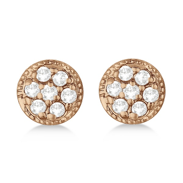 Antique Style Push Back Diamond Earrings Milgrain Edged 14k Rose Gold (0.30ct)