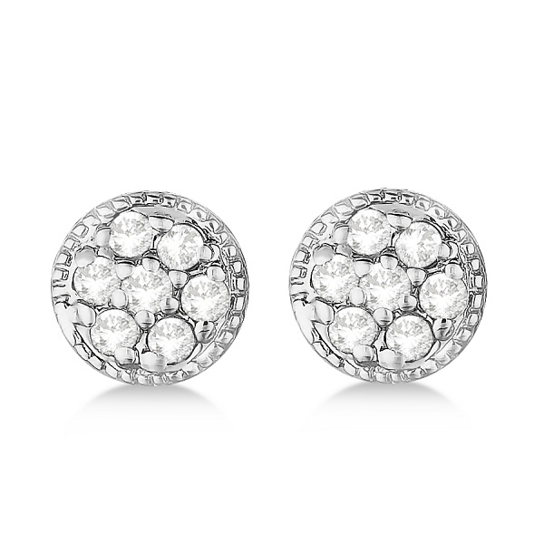 Antique Style Push Back Diamond Earrings Milgrain Edged 14k White Gold (0.30ct)