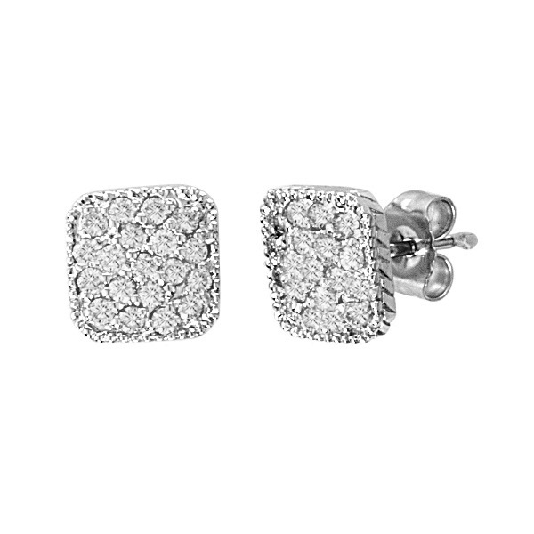Round Diamond Square Shaped Earrings in 14K White Gold (0.50ct)