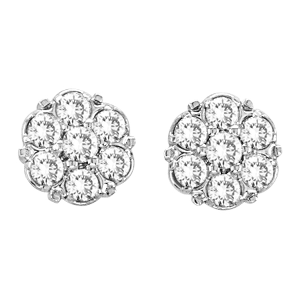 Flower Diamond Cluster Stud Earrings in 14K White Gold (0.54 ctw)