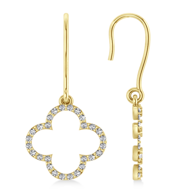 Diamond Clover Drop Earrings 14K Yellow Gold (0.56ct)