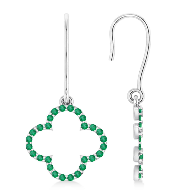 Emerald Clover Drop Earrings 14K White Gold (0.56ct)