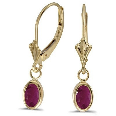 Oval Ruby Lever-back Drop Earrings in 14K Yellow Gold (1.20ct)
