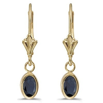 Oval Blue Sapphire Lever-back Drop Earrings 14K Yellow Gold (1.10ct)