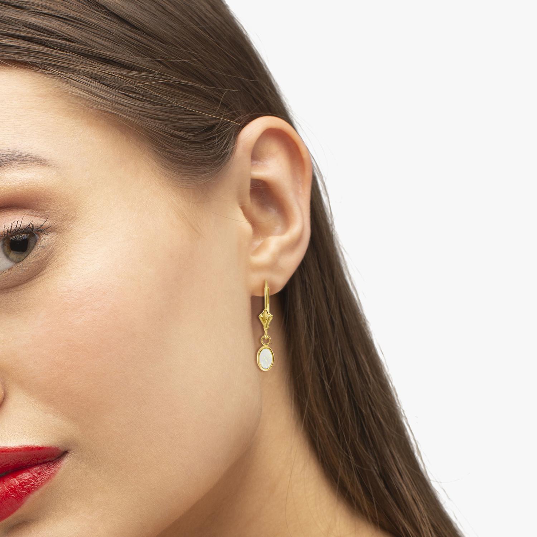 Oval Opal Bezel Leverback Earrings in 14K Yellow Gold (0.54ct)