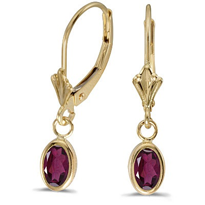 Oval Rhodolite Garnet Leverback Drop Earrings in 14K Yellow Gold (1.10ct)