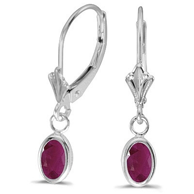 Oval Ruby Lever-back Drop Earrings in 14K White Gold (1.20ct)