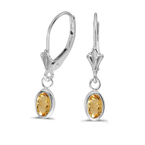 Oval Citrine Leverback Drop Earrings in 14K White Gold (0.90ct)