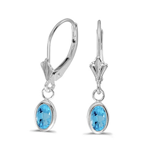 Oval Blue Topaz Leverback Drop Earrings in 14kt White Gold (1.14ct)