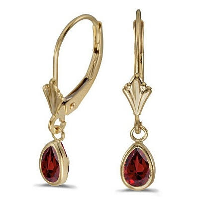 Garnet Dangling Drop Lever-Back Earrings 14K Yellow Gold (0.90ct)