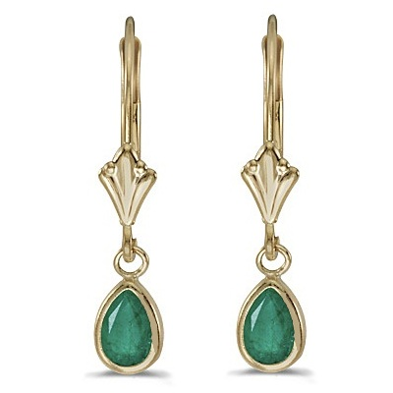 Emerald Dangling Drop Lever-Back Earrings 14K Yellow Gold (0.80ct)