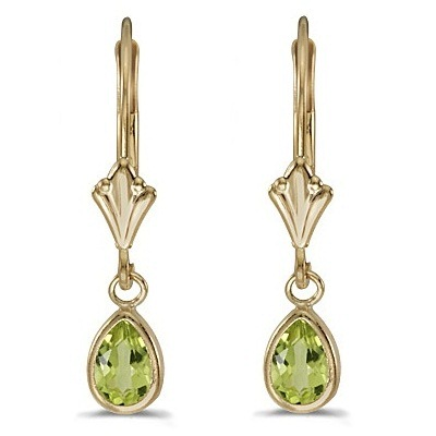 Peridot Dangling Drop Lever-Back Earrings 14K Yellow Gold (0.90ct)