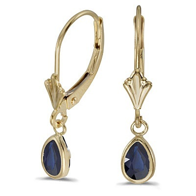 Pear Blue Sapphire Drop Dangling Earrings 14k Yellow Gold (0.90ct)