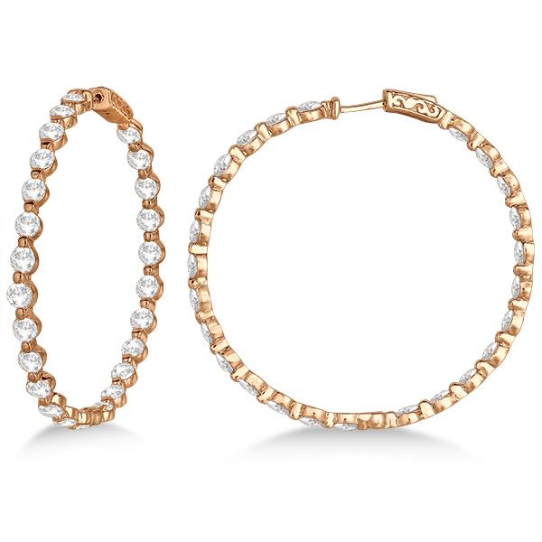 Large Round Floating Diamond Hoop Earrings 14k Rose Gold (10.00ct)