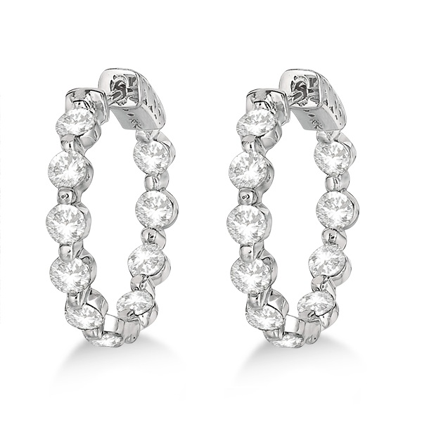 Small Round Floating Diamond Hoop Earrings 14k White Gold (4.00ct)