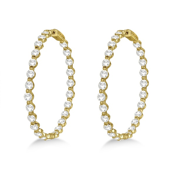 Large Round Floating Diamond Hoop Earrings 14k Yellow Gold (10.00ct)