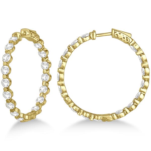 Medium Round Floating Diamond Hoop Earrings 14k Yellow Gold (6.80ct)