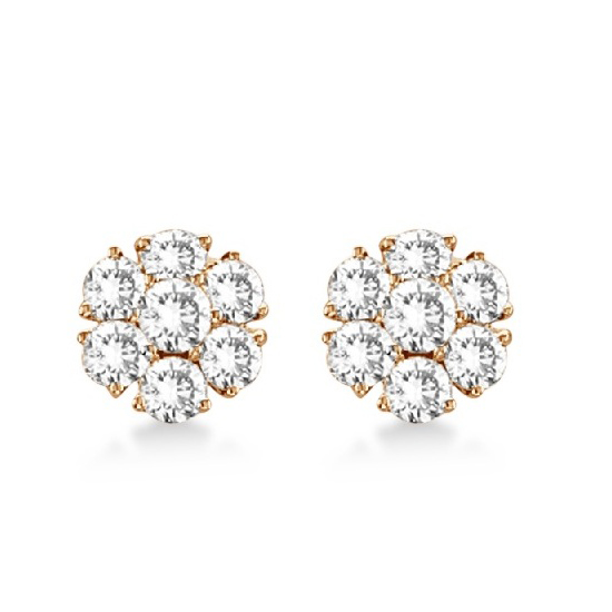 Diamond Flower Cluster Earrings in 14K Rose Gold (1.20ctw)