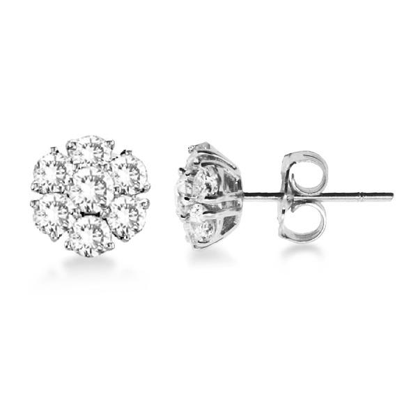 Diamond Flower Cluster Earrings in 14K White Gold (2.05ct)