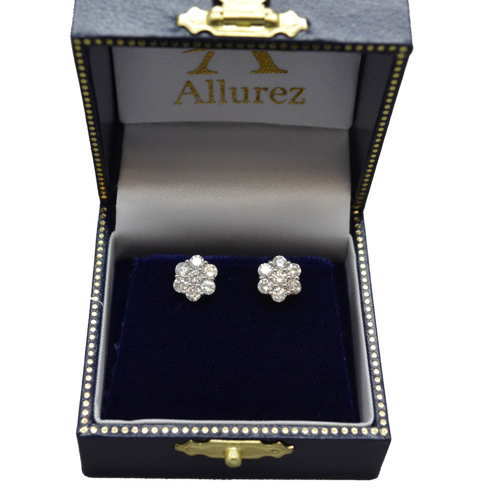 Diamond Flower Cluster Earrings in 14K White Gold (1.20ctw)