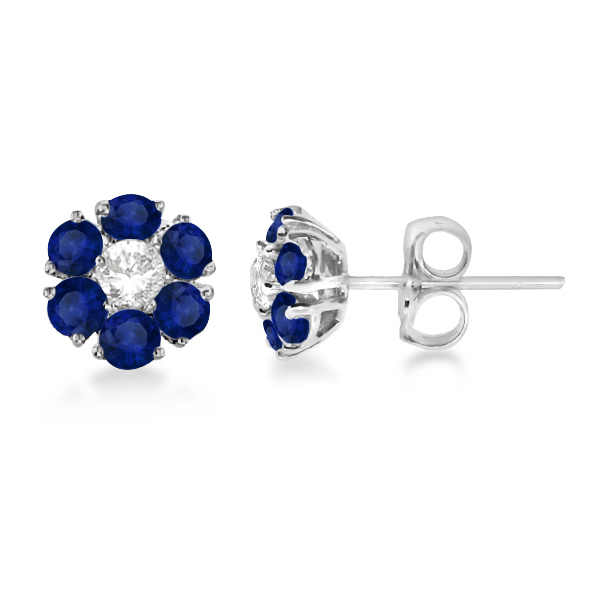 Diamond & Sapphire Flower Cluster Earrings 14K White Gold (1.91ctw)