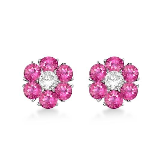 Pink Sapphire & Diamond Flower Cluster Earrings 14K W Gold (1.25ct)