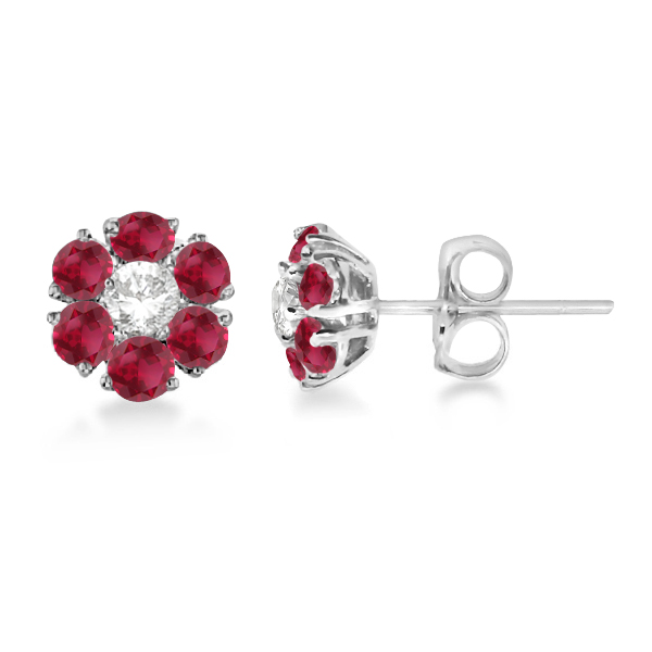 Diamond and Ruby Flower Cluster Earrings in 14K White Gold (1.67ctw)