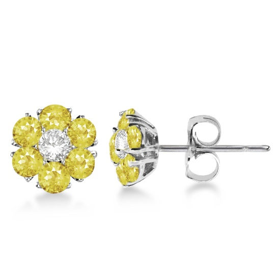 Yellow & White Diamond Flower Cluster Earrings 14K W Gold (1.20ct)