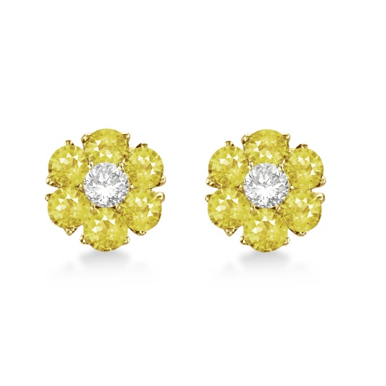 Yellow & White Diamond Flower Cluster Earrings 14K Y Gold (1.20ct)