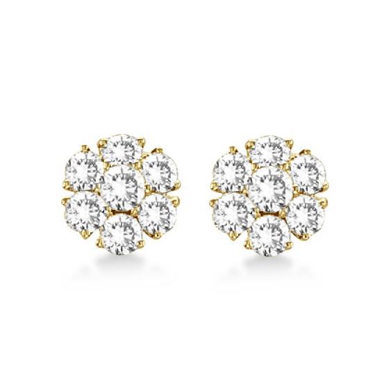 Diamond Flower Cluster Earrings in 14K Yellow Gold (2.05ct)