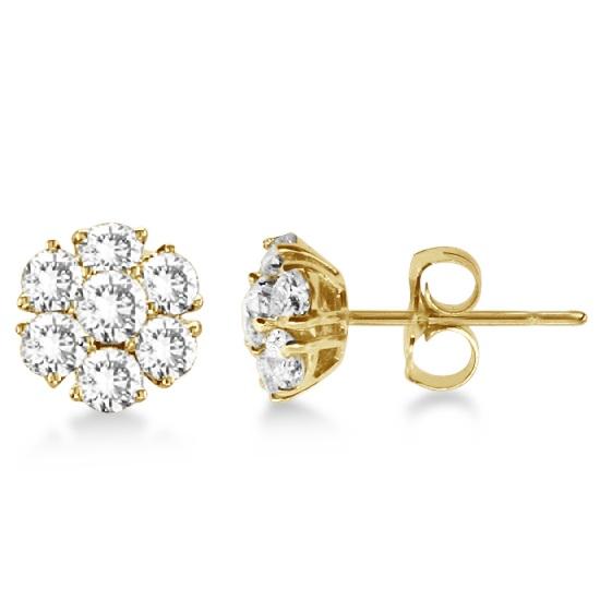 Diamond Flower Cluster Earrings in 14K Yellow Gold (3.00ct)