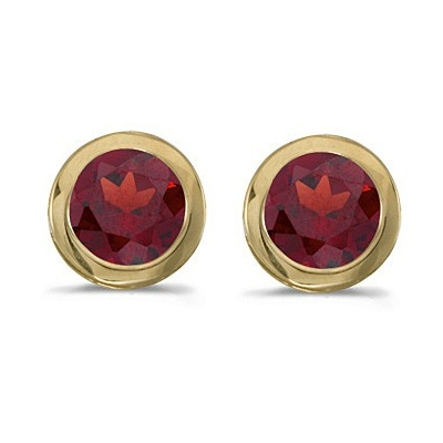 Bezel-Set Round Garnet Stud Earrings 14k Yellow Gold (1.20ctw)