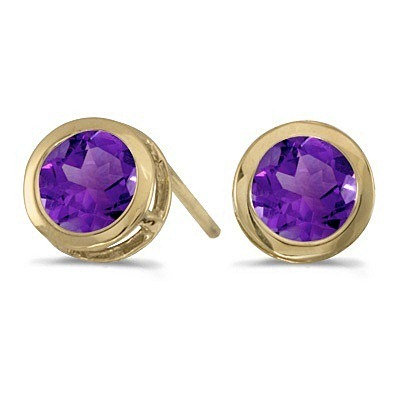 Bezel-Set Round Amethyst Stud Earrings 14k Yellow Gold (0.80ctw)