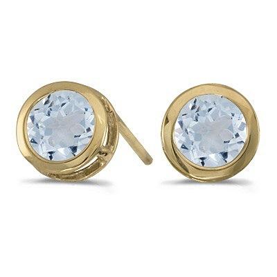 Bezel-Set Round Aquamarine Stud Earrings 14k Yellow Gold (0.82ctw)