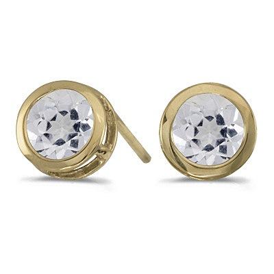 Bezel-Set Round White Topaz Stud Earrings 14k Yellow Gold (1.12ct)