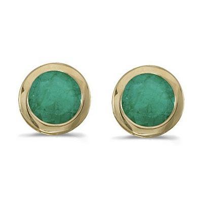 Bezel-Set Round Emerald Stud Earrings 14k Yellow Gold (0.96ctw)